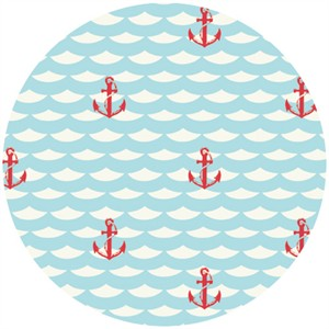 Jay-Cyn Designs for Birch Fabrics Organic, Set Sail, Red Anchor