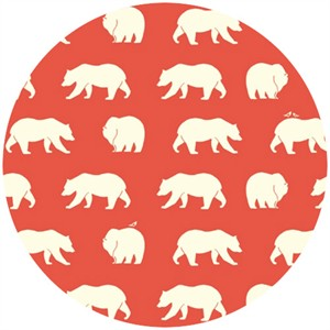 Jay-Cyn Designs for Birch Organic Fabrics, Bear Camp, KNIT, Bear Hike Coral