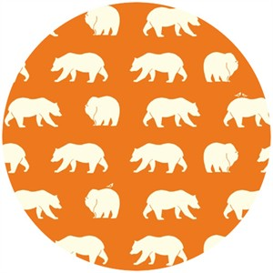Jay-Cyn Designs for Birch Organic Fabrics, Bear Camp, KNIT, Bear Hike Orange