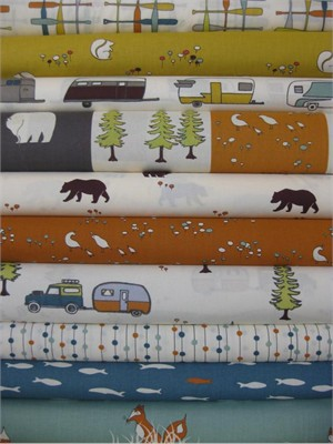 Jay-Cyn Designs for Birch Organic Fabrics, Camp Sur in FAT QUARTERS, 10 Total (PRE-CUTS)