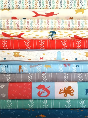 Jay-Cyn Designs for Birch Organic Fabrics, Beyond the Sea, ENTIRE COLLECTION in FAT QUARTERS 11 Total