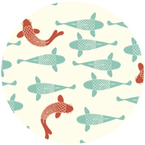 Jay-Cyn Designs for Birch Organic Fabrics, Eiko, Playing Koi Cream