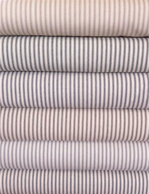 James Thompson, Ticking Woven Stripes, Neutral in FAT QUARTERS 5 Total