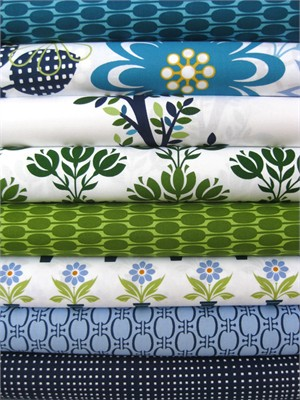 Jason Yenter, Bloom Modern, Blue in FAT QUARTERS, 7 Total