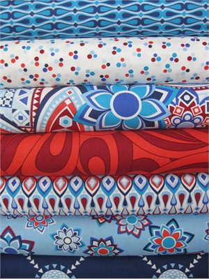 Jenean Morrison, Beachwood Park, Blue in Fat Quarters, 7 Total