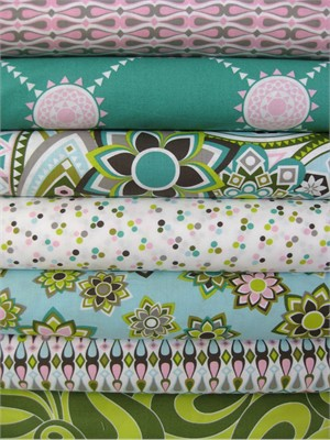 Jenean Morrison, Beachwood Park, Green in Fat Quarters, 6 Total