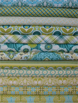 Joel Dewberry, Notting Hill, Aquamarine 12 FAT QUARTERS