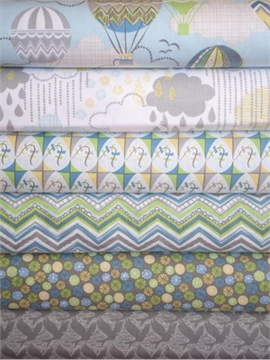 Josephine Kimberling, Blown Away, Blue in FAT QUARTERS 6 Total