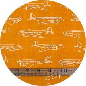 Jay-Cyn Designs for Birch Organic Fabrics, Trans-Pacific, KNIT, Planes Orange