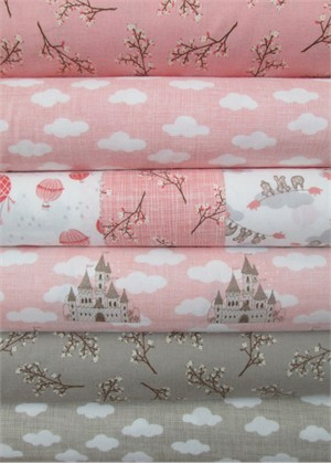 Kate and Birdie Paper Co., Storybook, FLANNEL, Peach in FAT QUARTERS 5 Total