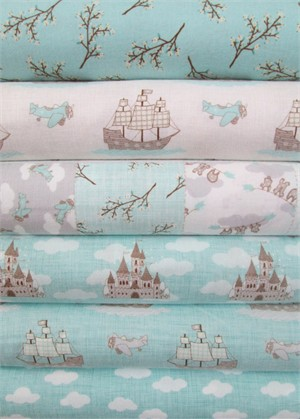 Kate and Birdie Paper Co., Storybook, FLANNEL, Aqua in FAT QUARTERS 6 Total
