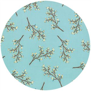 Kate and Birdie Paper Co., Storybook, FLANNEL, Blossoms Aqua