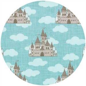 Kate and Birdie Paper Co., Storybook, FLANNEL, Castles Aqua