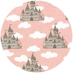Kate and Birdie Paper Co., Storybook, FLANNEL, Castles Peach