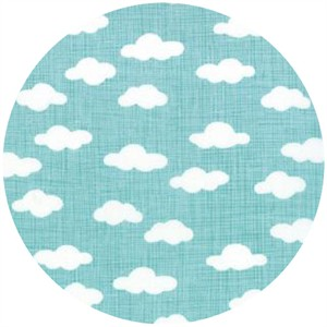 Kate and Birdie Paper Co., Storybook, FLANNEL, Clouds Aqua