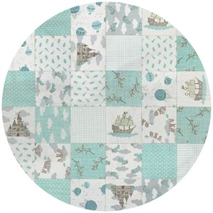 Kate and Birdie Paper Co., Storybook, FLANNEL, Patchwork Aqua