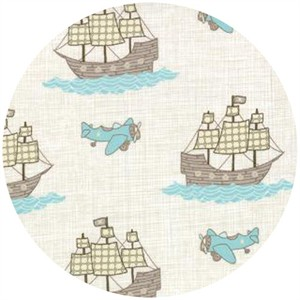 Kate and Birdie Paper Co., Storybook, FLANNEL, Pirate Planes Natural