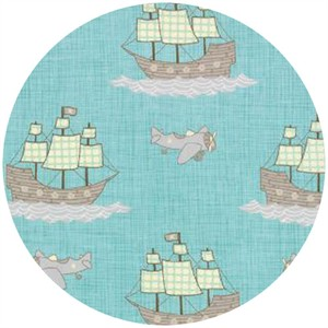 Kate and Birdie Paper Co., Storybook, FLANNEL, Pirate Planes Aqua
