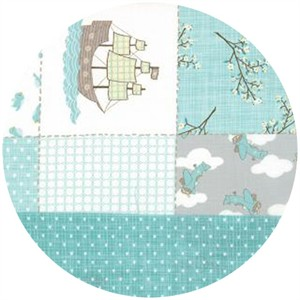 Kate and Birdie Paper Co., Storybook, Double Faced Pre-Quilted Patchwork Aqua