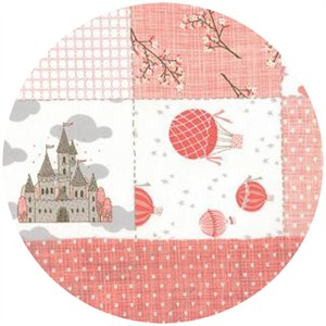Kate and Birdie Paper Co., Storybook, Double Faced Pre-Quilted Patchwork Peach