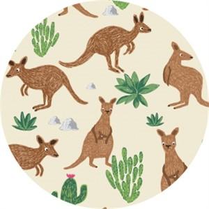 Dear Stella, Wild & Free, FLANNEL, Kangaroos Cream