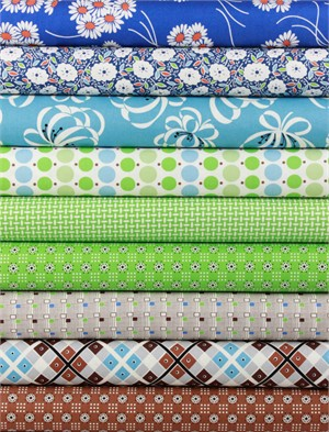 Denyse Schmidt for Free Spirit, Katie Jump Rope, Grassy in FAT QUARTERS 9 Total
