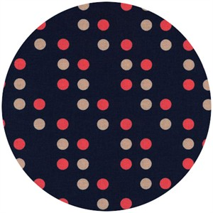 Kimberly Kight for Cotton and Steel, Lucky Strikes, Dime Store Dot Navy