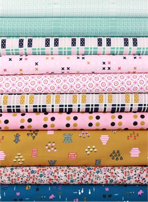 Kimberly Knight for Cotton and Steel, Lucky Strikes, Pink in FAT QUARTERS 10 Total