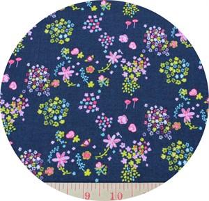 Kokka, The Tinies , SHEETING, Floral Black