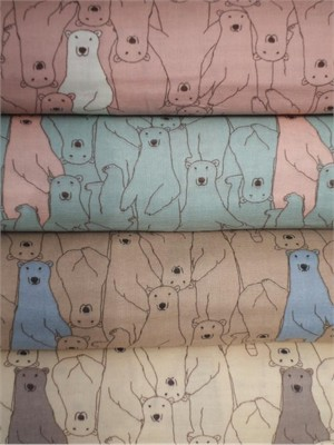 Kobayashi, DOUBLE GAUZE, Polar Bear in FAT QUARTERS 4 Total (Pre-cut)