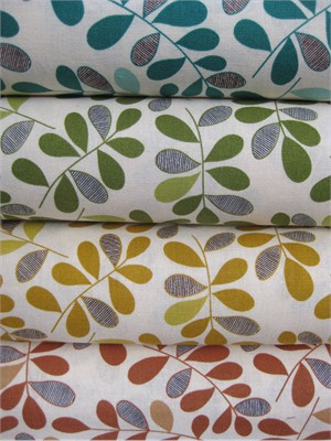 Kokka, Graphic Leaves Sampler in FAT QUARTERS, 4 Total