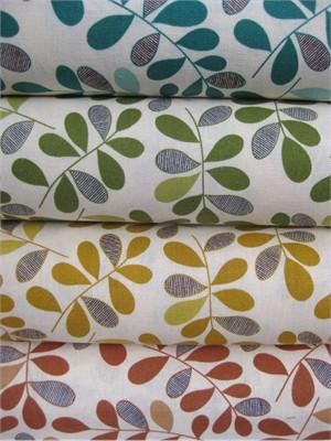 Kokka, Graphic Leaves Sampler in FAT QUARTERS, 4 Total