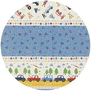 Kokka Japan, Bots and Cars Border Blue