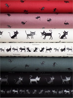 Kokka Japan, Cocoland Cats in FAT QUARTERS 7 Total (Pre-cut)