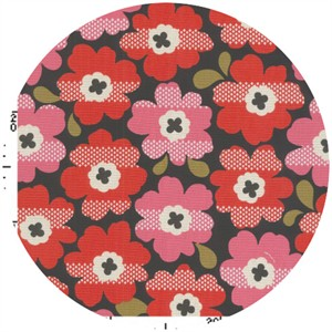Kokka Japan, Graphic Floral Charcoal Cherry
