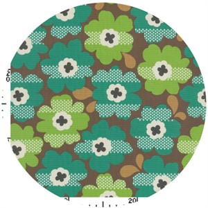 Kokka Japan, Graphic Floral Mint Choco
