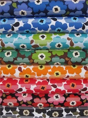 Kokka Japan, Graphic Floral Sampler in FAT QUARTERS, 7 Total