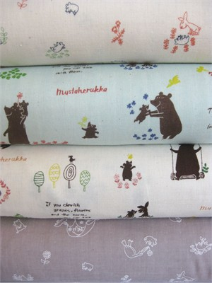 Kokka Japan, Mustaherukka Bears, DOUBLE GAUZE, The Sweet Life in FAT QUARTERS 4 Total (Pre-cut)