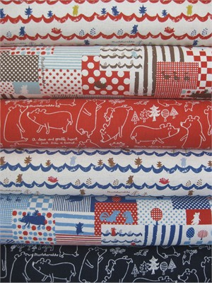 Kokka Japan, Mustaherukka Bears, In The Field in FAT QUARTERS 6 Total