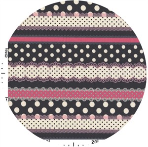 Kokka Japan, Ribbon Stripe Black/Pink