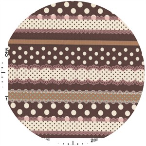 Kokka Japan, Ribbon Stripe Brown