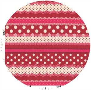 Kokka Japan, Ribbon Stripe Cherry
