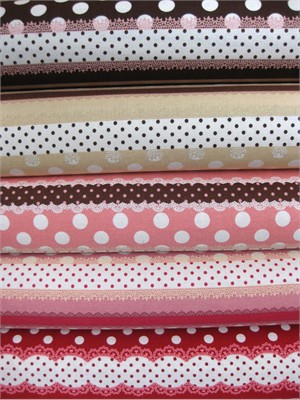 Kokka Japan, Ribbon Stripe Sampler, Candy in FAT QUARTERS, 5 Total