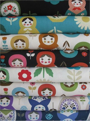 Kokka Japan, Trefle Matroyshka Sampler in FAT QUARTERS, 7 Total