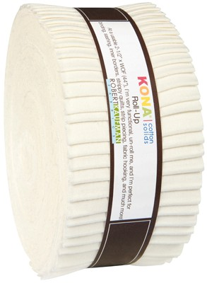 Robert Kaufman, Kona Cotton Solids, Snow Roll-Up (40 Strips)