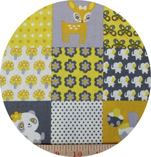 Kokka, SHEETING, Panda Patch Daffodil