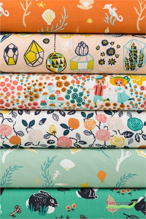 Fabricworm Custom Bundle, ORGANIC, Land and Sea in FAT QUARTERS 6 Total
