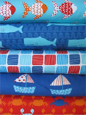 Laurie Wisbrun, Don't Be Crabby, Nautical in FAT QUARTERS, 4 Total