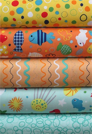 Lesley Grainger for Riley Blake, In the Ocean, Teal in FAT QUARTERS 5 Total