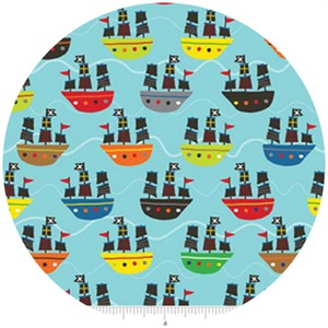 Lesley Grainger for Riley Blake, Treasure Map, Boats Blue
